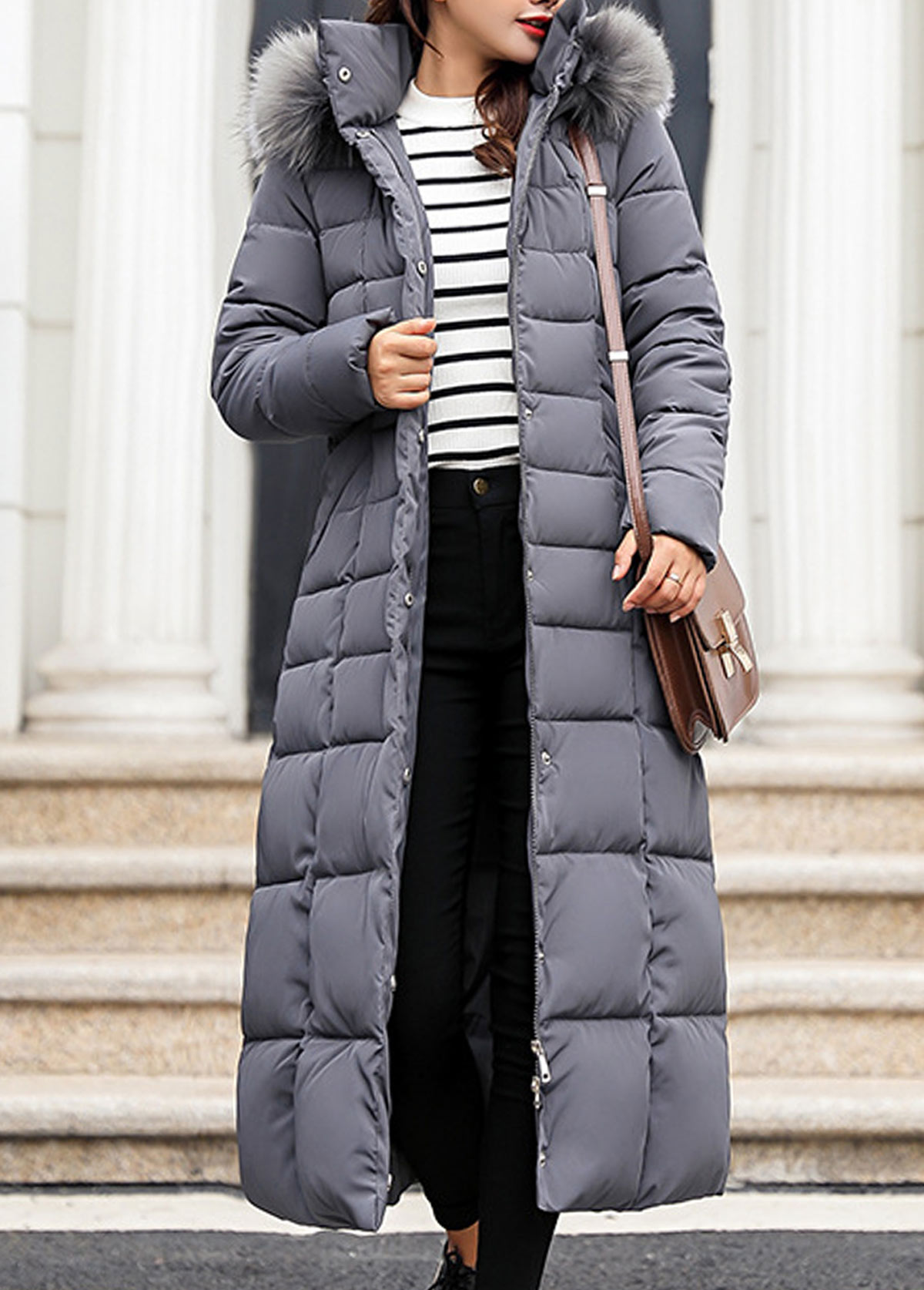 Hooded Collar Faux Fur Belted Padded Coat