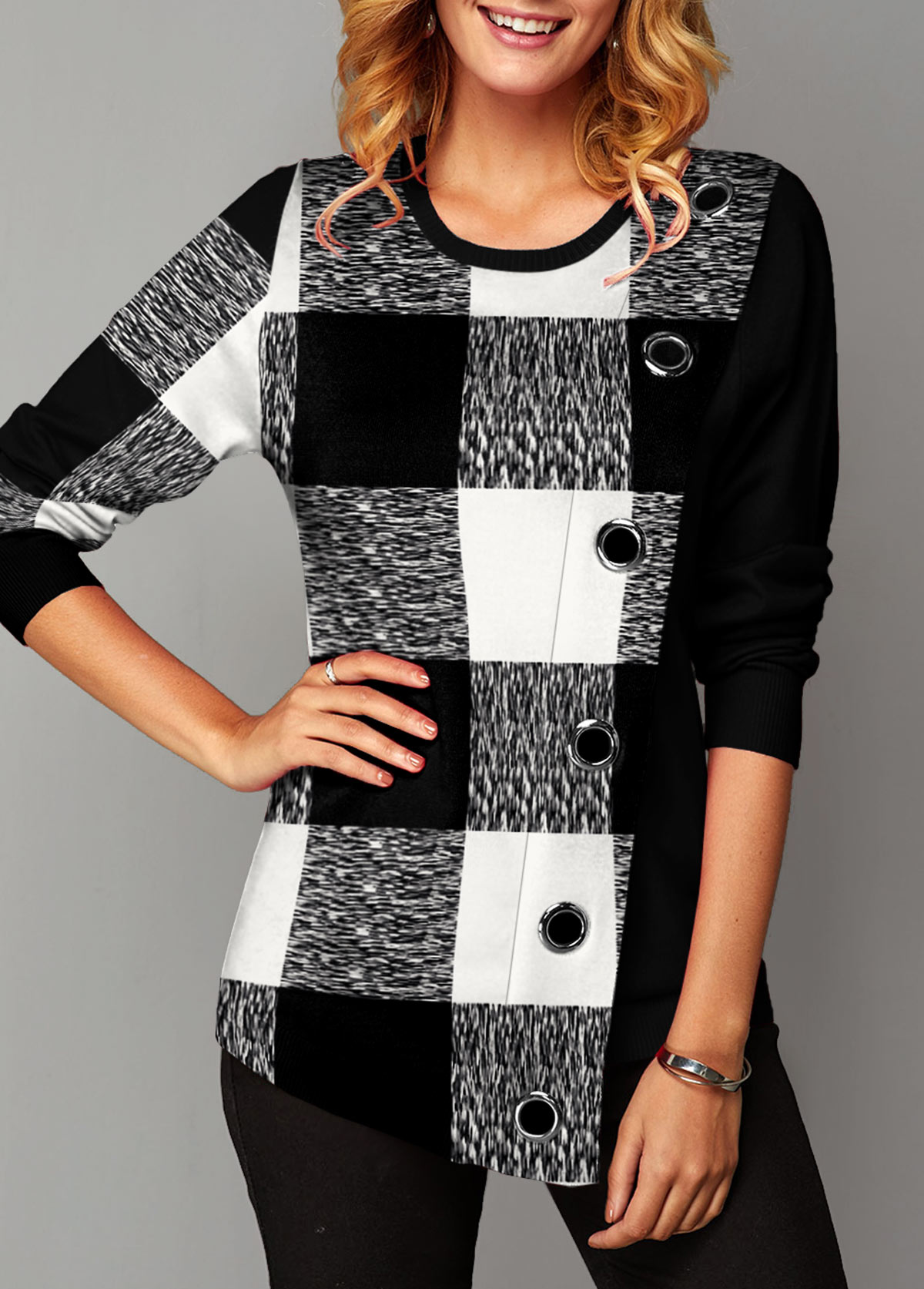 Plaid Eyelet Detail Long Sleeve T Shirt