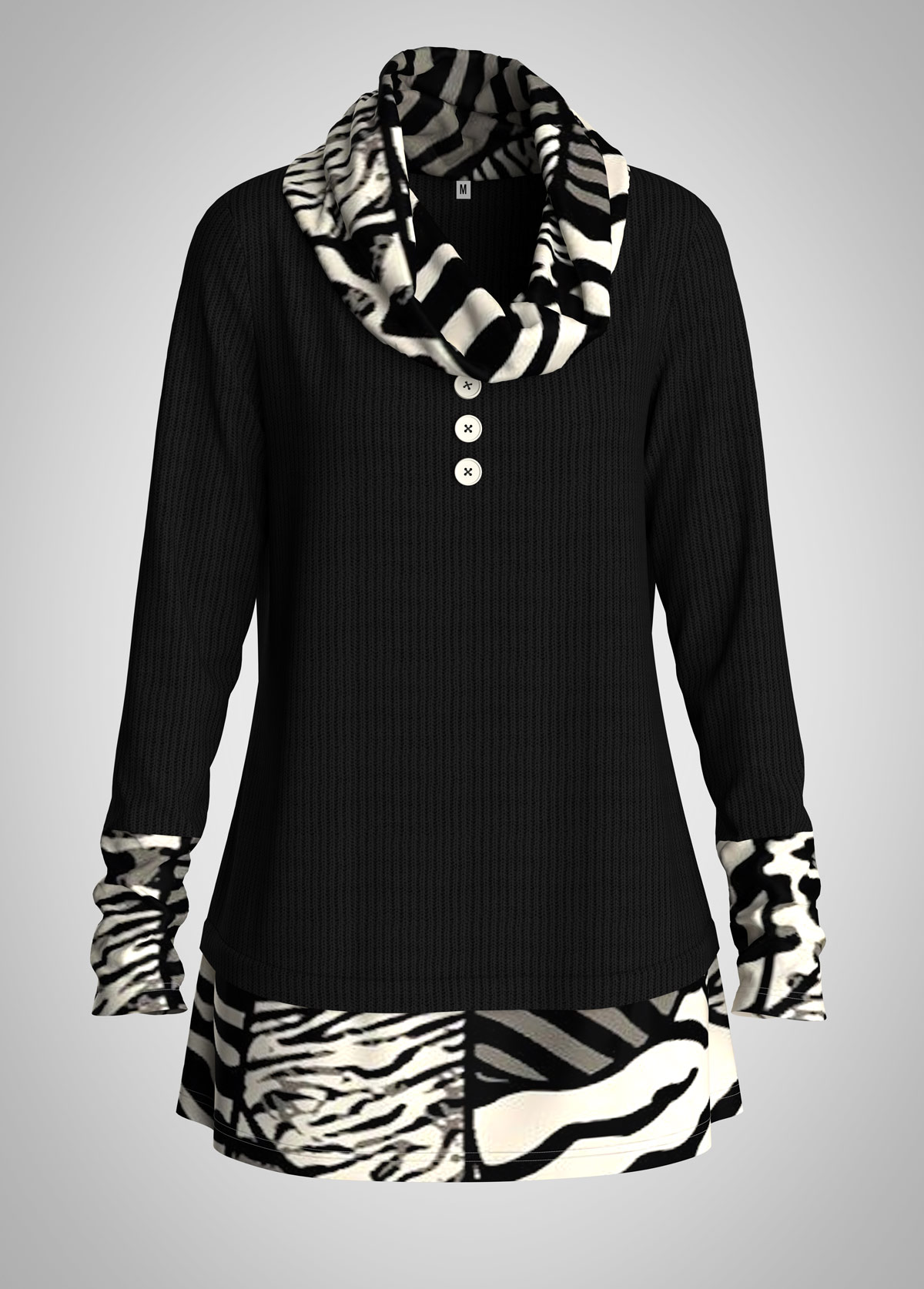 Animal Print Cowl Neck Button Detail Tunic Top