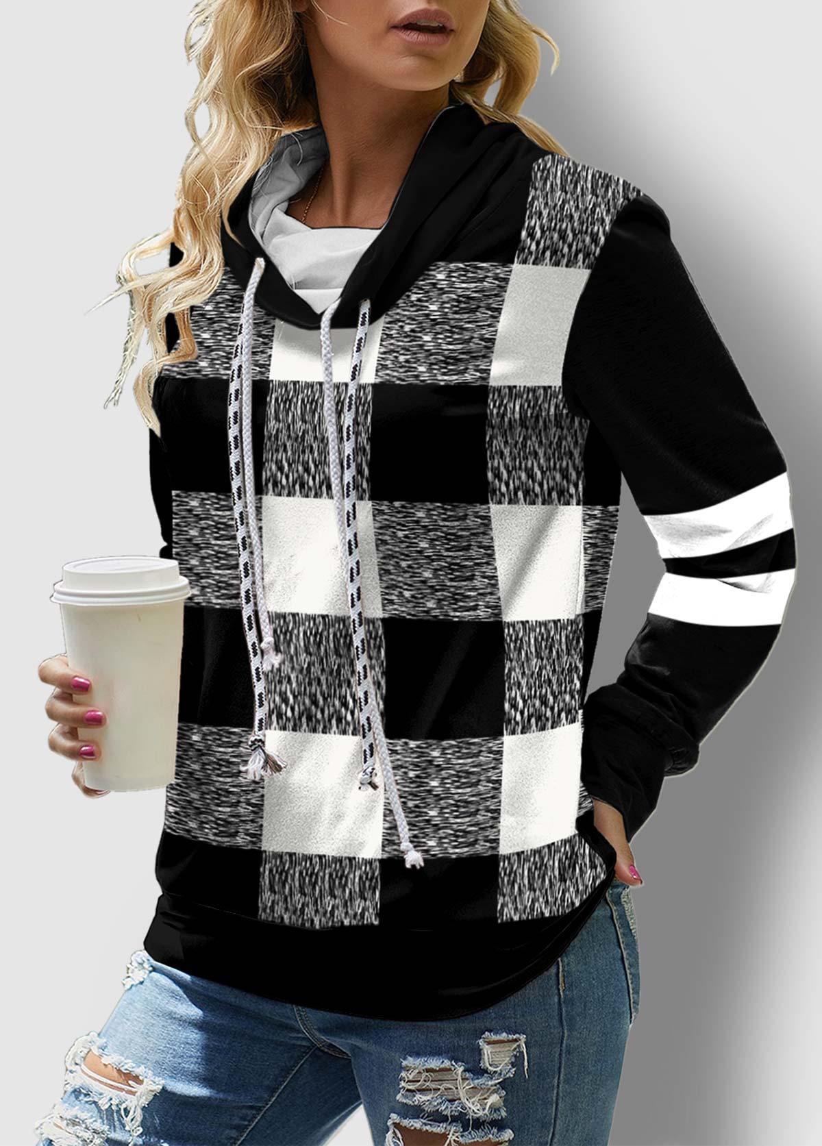 Plaid Drawstring Neck Long Sleeve Contrast Sweatshirt