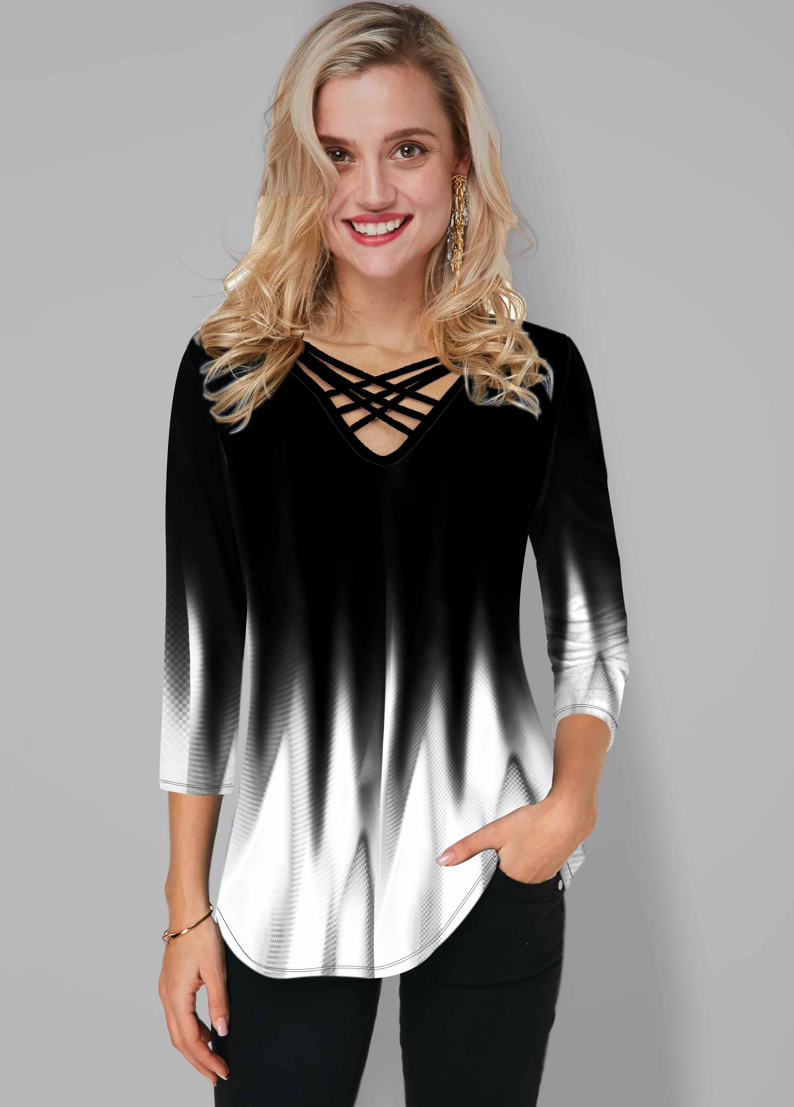 Ombre Printed Strappy Neck T Shirt