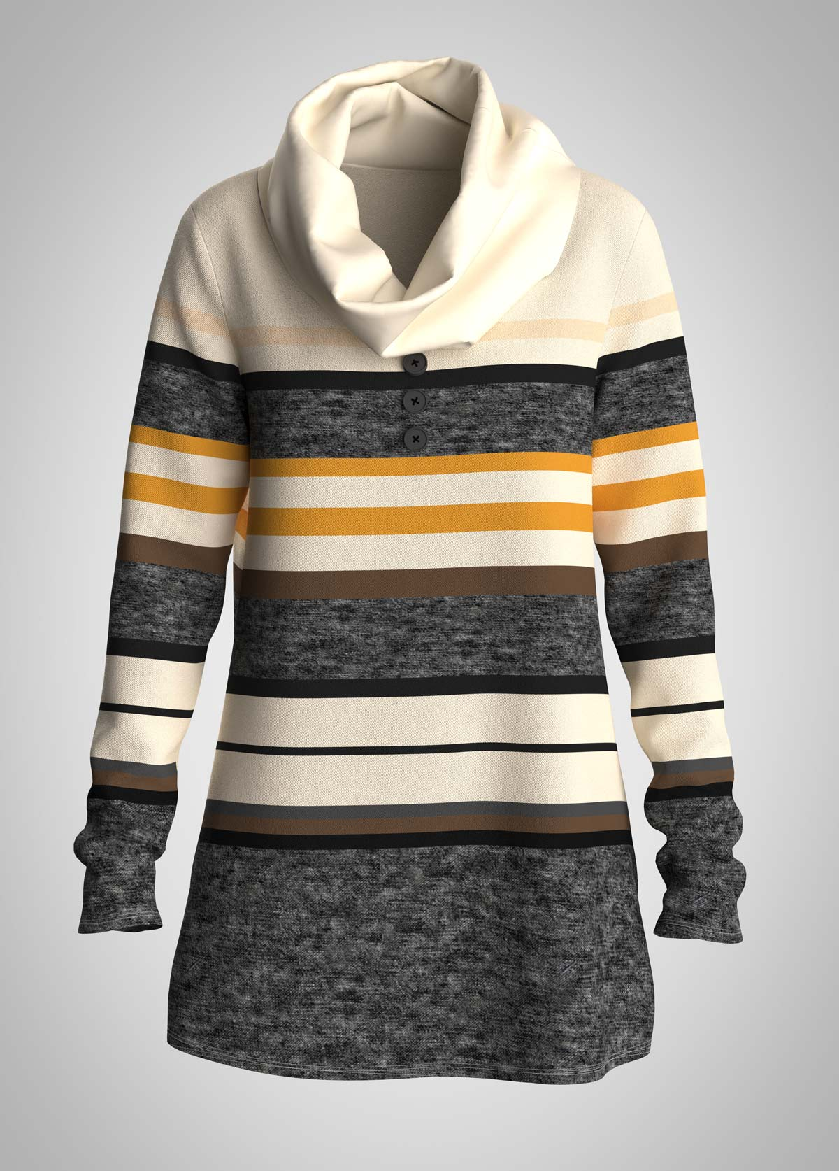 Striped Cowl Neck Long Sleeve Tunic Top