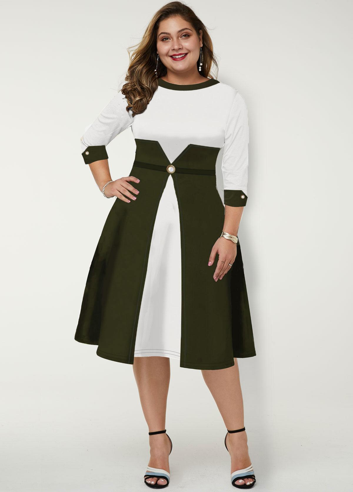 Plus Size Color Block Round Neck Dress