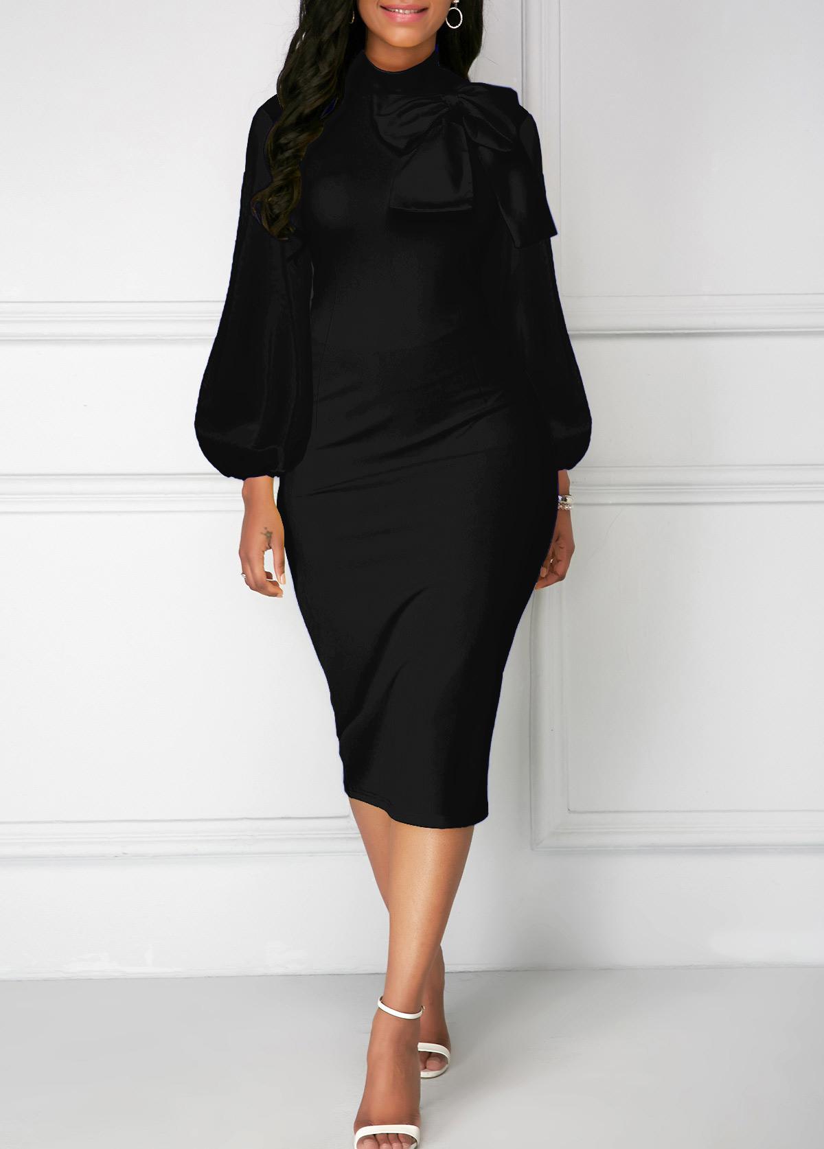 Bowknot Neck Black Lantern Sleeve Sheath Dress