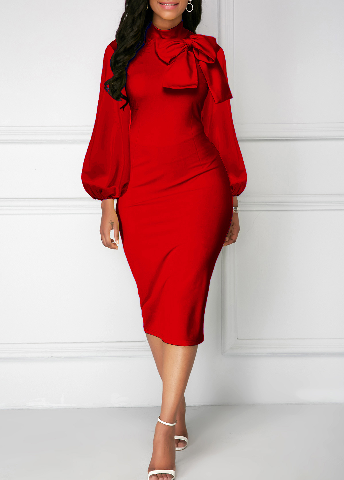 Bowknot Neck Red Lantern Sleeve Sheath Dress
