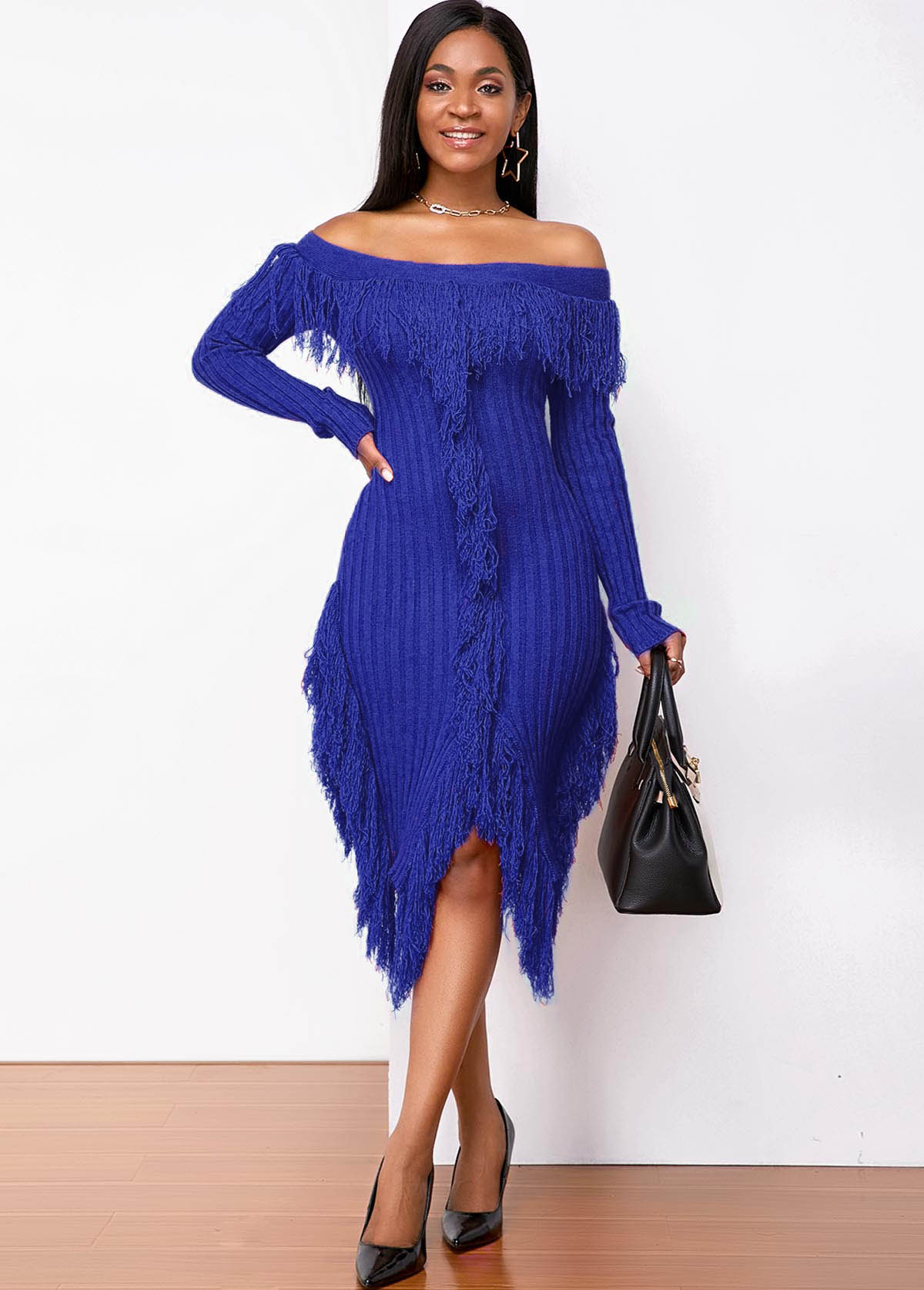Off Shoulder Long Sleeve Tassel Sweater Dress