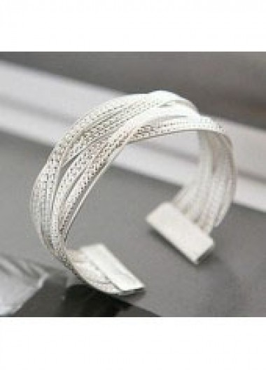 Metal Rattan Knitted Twisted Silver Wide Bracelet - One Size
