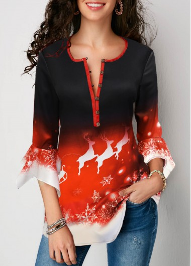 Flare Cuff Christmas Elk Print Button Front Blouse - L