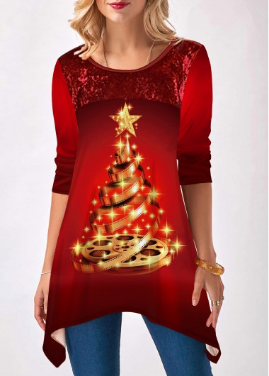 Christmas Shirt Red Tree Print Sharkbite Hem Casual T Shirt for Women - L