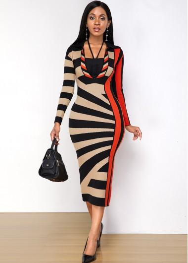 Geometric Print Turndown Collar Sweater Dress - L