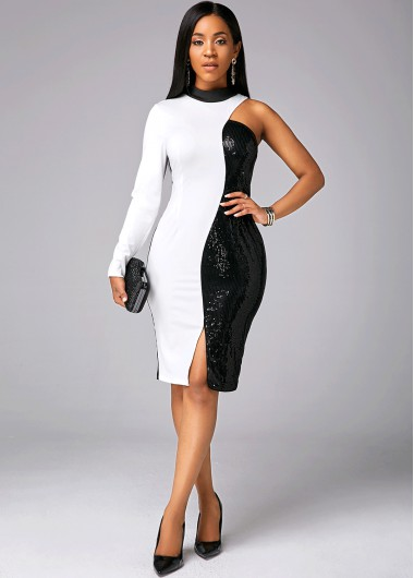 Color Block One Sleeve Sequin Dress - L