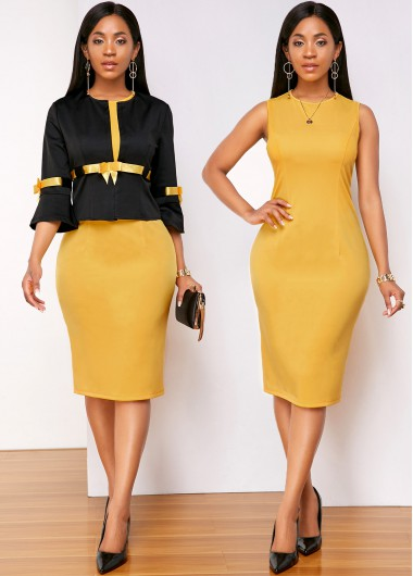 Contrast Bowknot Top and Round Neck Sleeveless Dress - L