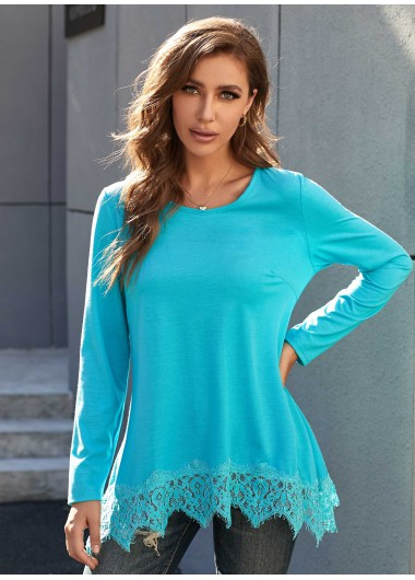 Lace Stitching Round Neck Long Sleeve Tunic Top - L