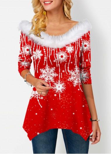 Faux Collar Snowflake Print Asymmetric Hem T Shirt - L