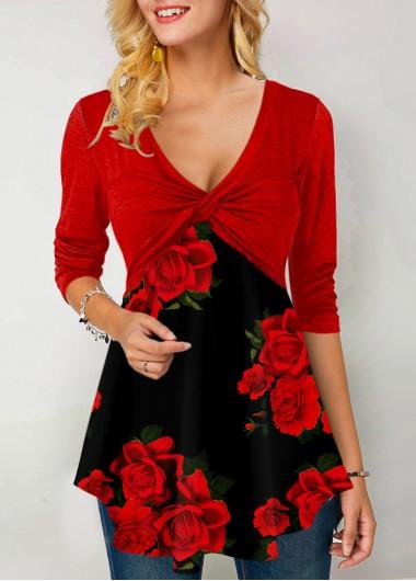 Floral Print Twist Front Long Sleeve T Shirt - L