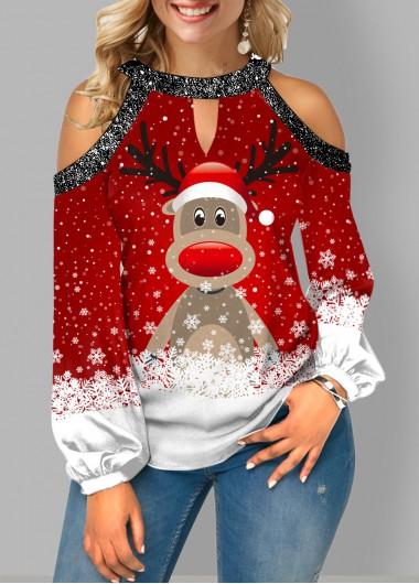 Christmas Fairisle Reindeer Print Christmas Print Cold Shoulder Sequin Contrast Blouse - L
