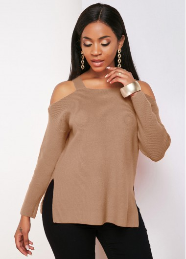 Long Sleeve Side Slit Strappy Cold Shoulder Sweater - L