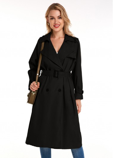 Turndown Collar Belted Button Detail Trench Coat - L