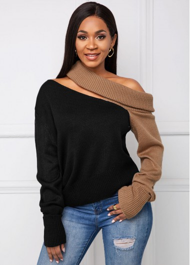Cutout Front Contrast Long Sleeve Sweater - L