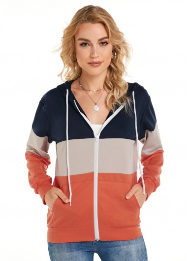 Zipper Closure Color Block Hooded Collar Jacket - 2XL