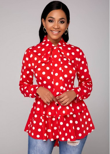 Red With White Polka Dot Tie Neck Dip Hem Blouse - L