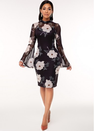 Flare Sleeve Floral Print Two Piece Dress - L