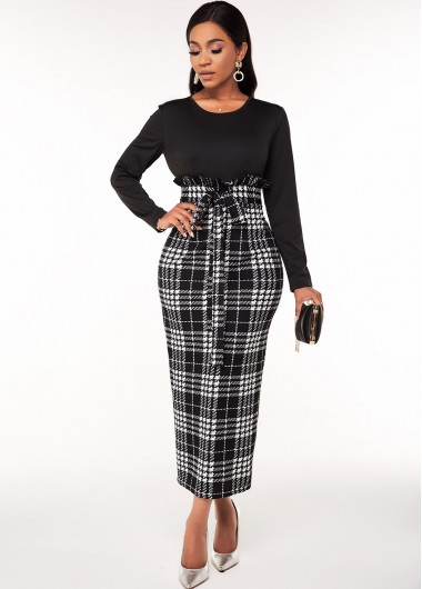 Belted Houndstooth Print Long Sleeve Dress - L
