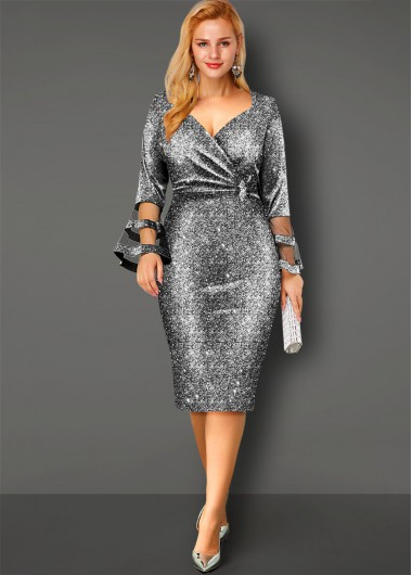 Sequin Flare Sleeve Hot Stamping Dress - L