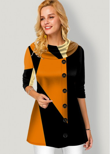 Contrast Button Detail Long Sleeve Tunic Top - L
