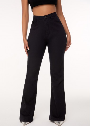 High Waist Elastic Pocket Black Jeans - L