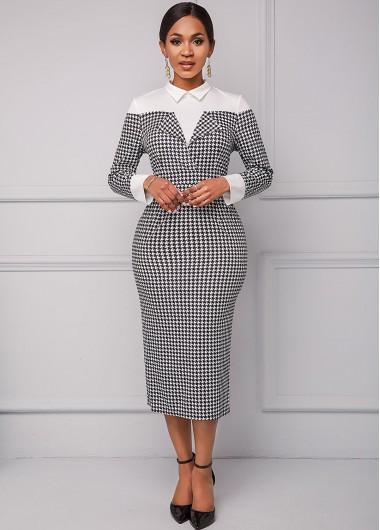 Houndstooth Print Turndown Collar Long Sleeve Dress - L