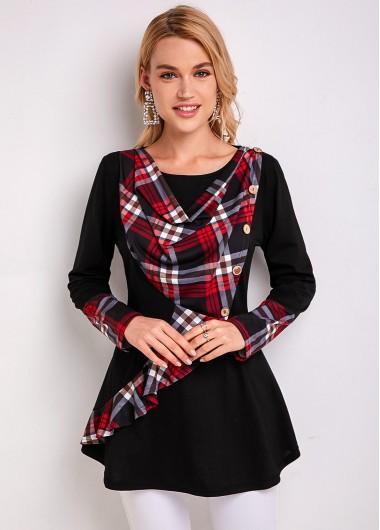 Inclined Button Plaid Long Sleeve Tunic Top - L