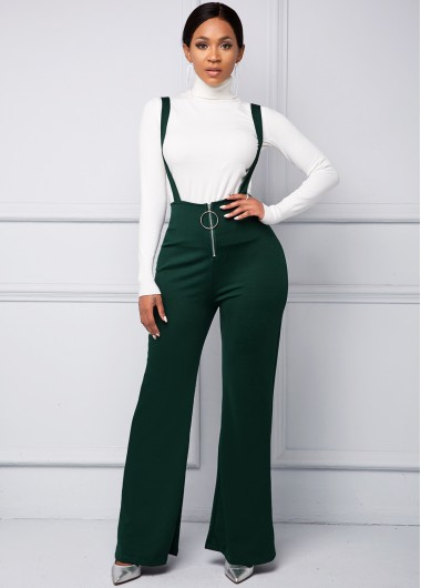 Spaghetti Strap Zip Front Ring Detail Jumpsuit - L