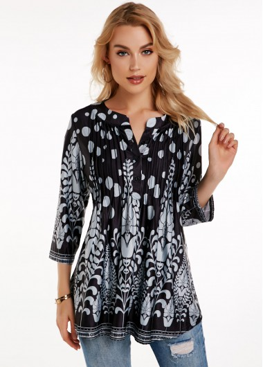 Crinkle Chest Button Detail Printed Blouse - L