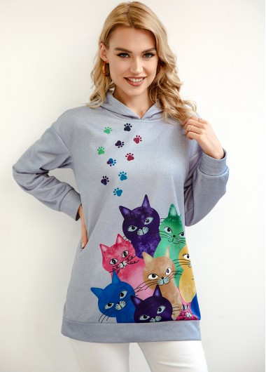 Cat Print Long Sleeve Light Grey Hoodie - L