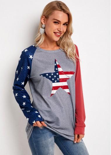 American Flag Print Contrast Long Sleeve Sweatshirt - L