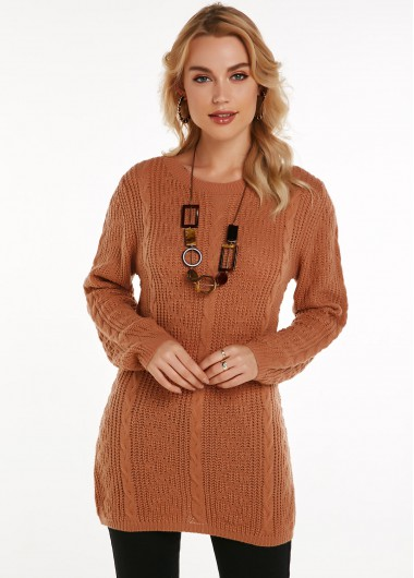 Cable Knit Round Neck Long Sleeve Sweater - L