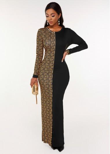 Geometric Print Round Neck Long Sleeve Dress - 2XL