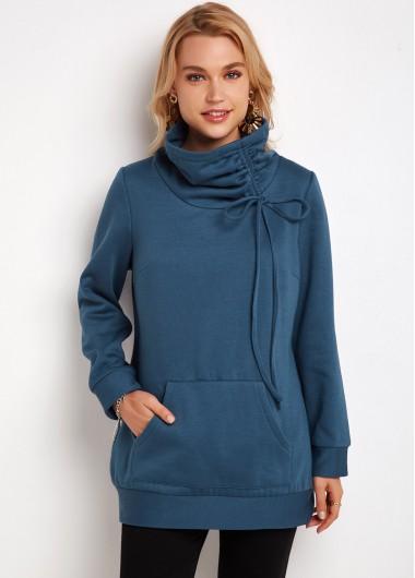 Kangaroo Pocket Drawstring Neck Long Sleeve Tunic Top - L