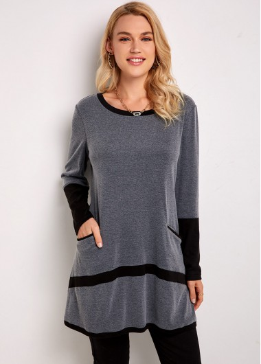 Contrast Round Neck Long Sleeve Pocket Tunic Top - L