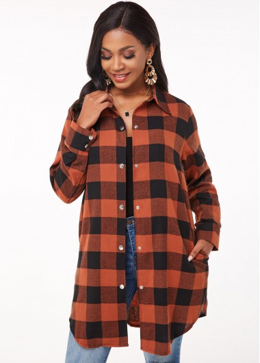 Turndown Collar Plaid Button Up Blouse - L