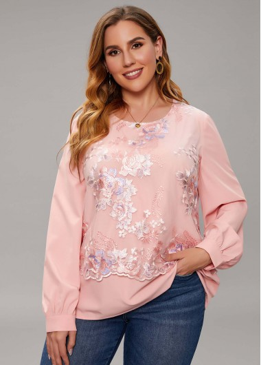 Plus Size Embroidered Lace Long Sleeve Blouse - 1X