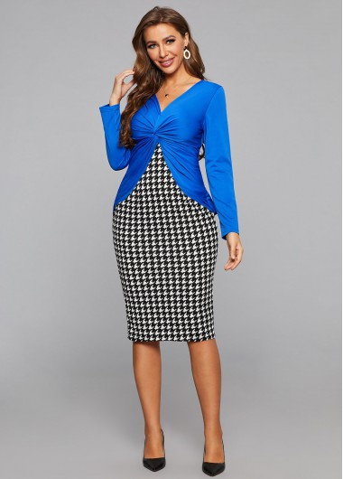 Twist Front Houndstooth Print Faux Two Piece Dress - L