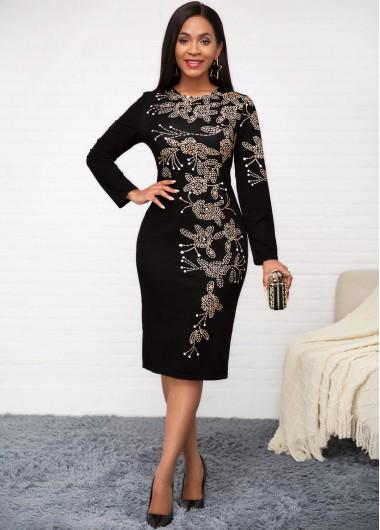 Printed Round Neck Long Sleeve Dress - L