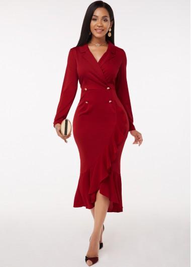Flounce Long Sleeve Button Detail Notch Collar Dress - L