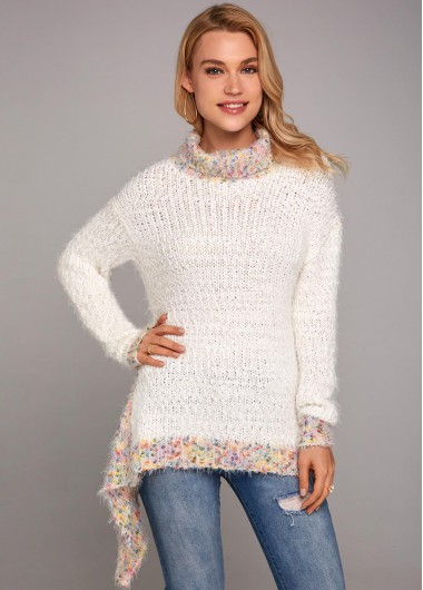 Whitek Knitted Asymmetric Hem Turtleneck Long Sleeve Sweater - L