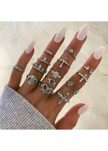 Rhinestone Leaf and Heart Shape Silver Ring Set - One Size