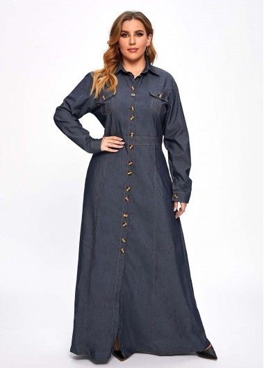 Plus Size Turndown Collar Long Sleeve Denim Dress - 2XL