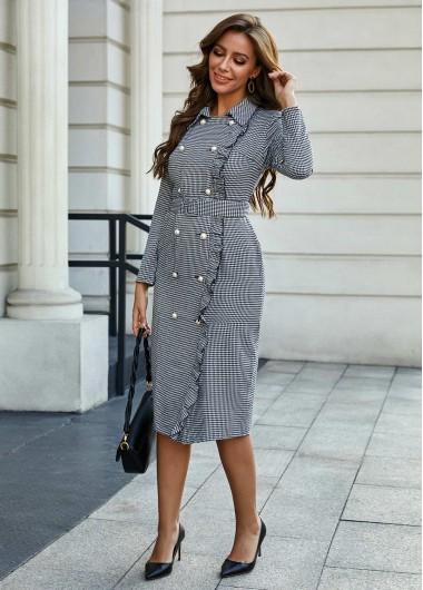 Houndstooth Print Turndown Collar Button Detail Dress - L