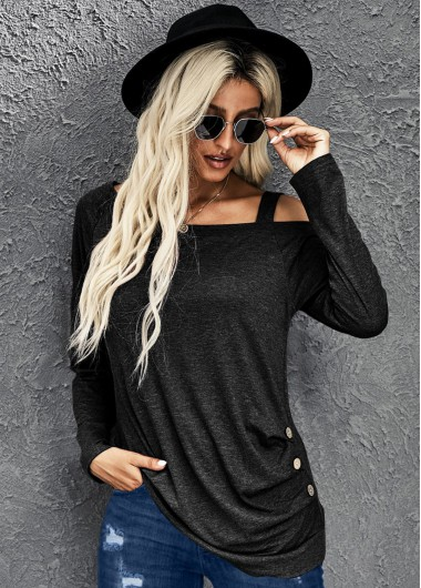 Strappy Cold Shoulder Ruched Long Sleeve T Shirt - XL